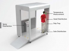 Disinfection and temperature monitoring gate